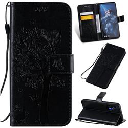 Embossing Butterfly Tree Leather Wallet Case for Huawei nova 5T - Black