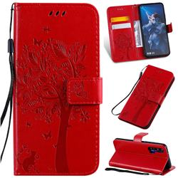 Embossing Butterfly Tree Leather Wallet Case for Huawei nova 5T - Red