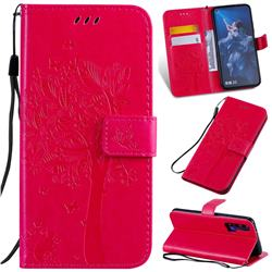 Embossing Butterfly Tree Leather Wallet Case for Huawei nova 5T - Rose