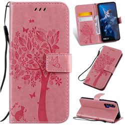 Embossing Butterfly Tree Leather Wallet Case for Huawei nova 5T - Pink