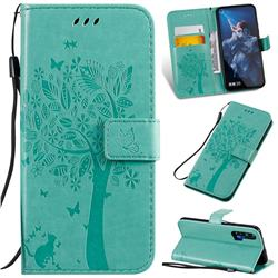 Embossing Butterfly Tree Leather Wallet Case for Huawei nova 5T - Cyan
