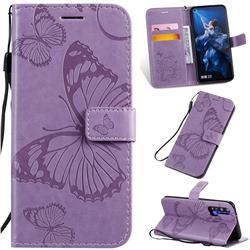 Embossing 3D Butterfly Leather Wallet Case for Huawei nova 5T - Purple
