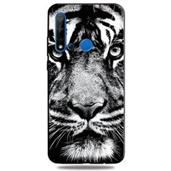 White Tiger 3D Embossed Relief Black TPU Cell Phone Back Cover for Huawei nova 5i
