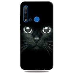 Bearded Feline 3D Embossed Relief Black TPU Cell Phone Back Cover for Huawei nova 5i
