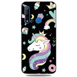 Candy Unicorn 3D Embossed Relief Black TPU Cell Phone Back Cover for Huawei nova 5i