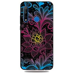 Colorful Lace 3D Embossed Relief Black TPU Cell Phone Back Cover for Huawei nova 5i