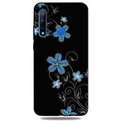 Little Blue Flowers 3D Embossed Relief Black TPU Cell Phone Back Cover for Huawei nova 5i