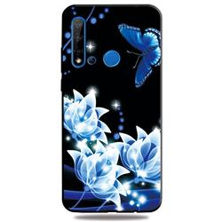 Blue Butterfly 3D Embossed Relief Black TPU Cell Phone Back Cover for Huawei nova 5i