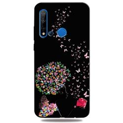 Corolla Girl 3D Embossed Relief Black TPU Cell Phone Back Cover for Huawei nova 5i