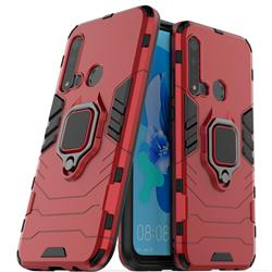 Black Panther Armor Metal Ring Grip Shockproof Dual Layer Rugged Hard Cover for Huawei nova 5i - Red