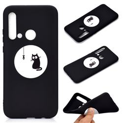 Fish Fishing Cat Chalk Drawing Matte Black TPU Phone Cover for Huawei nova 5i