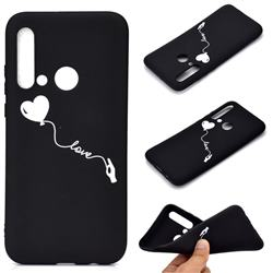 Heart Balloon Chalk Drawing Matte Black TPU Phone Cover for Huawei nova 5i