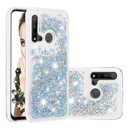 Dynamic Liquid Glitter Quicksand Sequins TPU Phone Case for Huawei nova 5i - Silver
