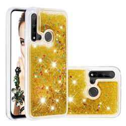Dynamic Liquid Glitter Quicksand Sequins TPU Phone Case for Huawei nova 5i - Golden