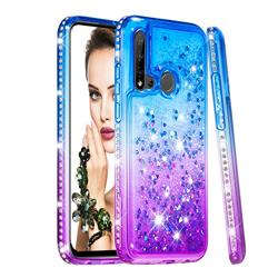 Diamond Frame Liquid Glitter Quicksand Sequins Phone Case for Huawei nova 5i - Blue Purple