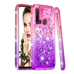 Diamond Frame Liquid Glitter Quicksand Sequins Phone Case for Huawei nova 5i - Pink Purple