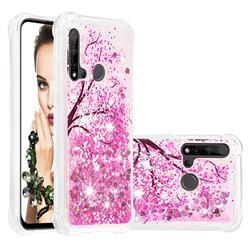 Pink Cherry Blossom Dynamic Liquid Glitter Sand Quicksand Star TPU Case for Huawei nova 5i
