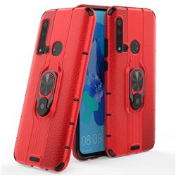 Alita Battle Angel Armor Metal Ring Grip Shockproof Dual Layer Rugged Hard Cover for Huawei nova 5i - Red