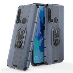 Alita Battle Angel Armor Metal Ring Grip Shockproof Dual Layer Rugged Hard Cover for Huawei nova 5i - Blue