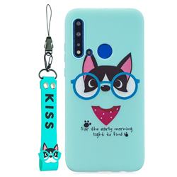 Green Glasses Dog Soft Kiss Candy Hand Strap Silicone Case for Huawei nova 5i