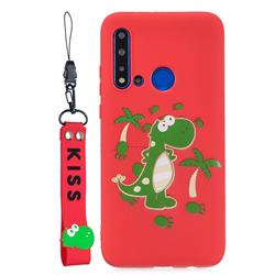 Red Dinosaur Soft Kiss Candy Hand Strap Silicone Case for Huawei nova 5i