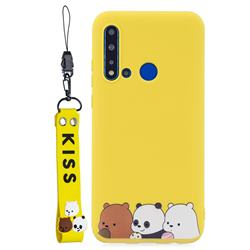 Yellow Bear Family Soft Kiss Candy Hand Strap Silicone Case for Huawei nova 5i