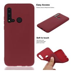 Soft Matte Silicone Phone Cover for Huawei nova 5i - Wine Red