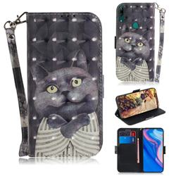 Cat Embrace 3D Painted Leather Wallet Phone Case for Huawei nova 5i