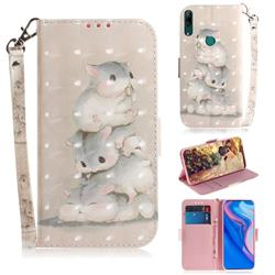 Three Squirrels 3D Painted Leather Wallet Phone Case for Huawei nova 5i