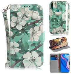 Watercolor Flower 3D Painted Leather Wallet Phone Case for Huawei nova 5i