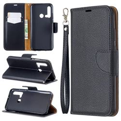 Classic Luxury Litchi Leather Phone Wallet Case for Huawei nova 5i - Black