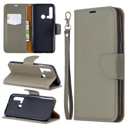 Classic Luxury Litchi Leather Phone Wallet Case for Huawei nova 5i - Gray