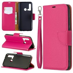 Classic Luxury Litchi Leather Phone Wallet Case for Huawei nova 5i - Rose