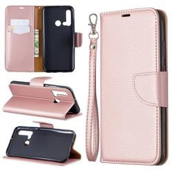 Classic Luxury Litchi Leather Phone Wallet Case for Huawei nova 5i - Golden