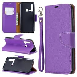 Classic Luxury Litchi Leather Phone Wallet Case for Huawei nova 5i - Purple