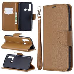 Classic Luxury Litchi Leather Phone Wallet Case for Huawei nova 5i - Brown