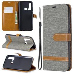 Jeans Cowboy Denim Leather Wallet Case for Huawei nova 5i - Gray