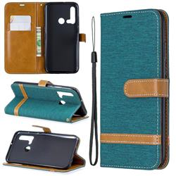Jeans Cowboy Denim Leather Wallet Case for Huawei nova 5i - Green