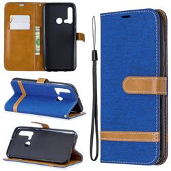 Jeans Cowboy Denim Leather Wallet Case for Huawei nova 5i - Sapphire