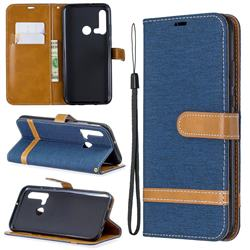 Jeans Cowboy Denim Leather Wallet Case for Huawei nova 5i - Dark Blue