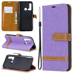 Jeans Cowboy Denim Leather Wallet Case for Huawei nova 5i - Purple