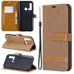 Jeans Cowboy Denim Leather Wallet Case for Huawei nova 5i - Brown