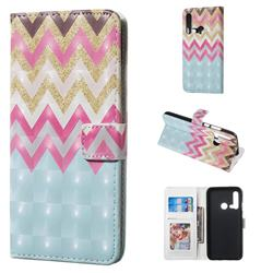 Color Wave 3D Painted Leather Phone Wallet Case for Huawei nova 5i