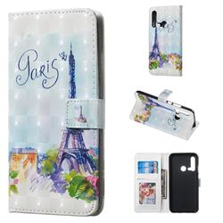 Paris Tower 3D Painted Leather Phone Wallet Case for Huawei nova 5i