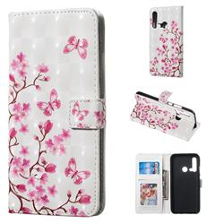 Cherry Blossom 3D Painted Leather Phone Wallet Case for Huawei nova 5i