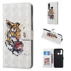 Toothed Tiger 3D Painted Leather Phone Wallet Case for Huawei nova 5i