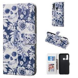 Skull Flower 3D Painted Leather Phone Wallet Case for Huawei nova 5i