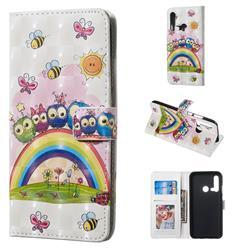 Rainbow Owl Family 3D Painted Leather Phone Wallet Case for Huawei nova 5i