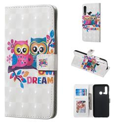 Couple Owl 3D Painted Leather Phone Wallet Case for Huawei nova 5i