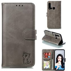 Embossing Happy Cat Leather Wallet Case for Huawei nova 5i - Gray